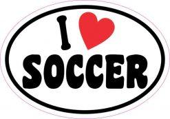 Oval I Love Soccer Sticker