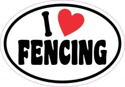 Oval I Love Fencing Sticker
