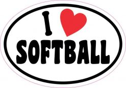 Oval I Love Softball Sticker