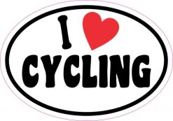 Oval I Love Cycling Sticker