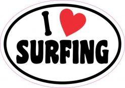 Oval I Love Surfing Sticker