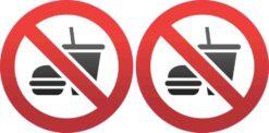 No Food or Drink Symbol Stickers