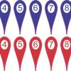 Numbered 0-10 Red and Blue Map Pointer Stickers