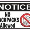 Notice No Backpacks Allowed Magnet
