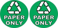 Recycling Paper Only Stickers