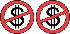 No Cash Symbol Stickers