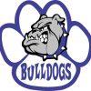 Blue and White Bulldog Paw Sticker
