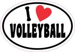 Oval I Love Volleyball Sticker