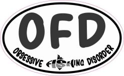 Oval OFD Obsessive Fishing Disorder Sticker