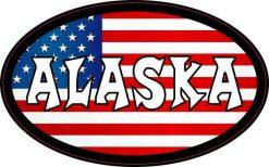 Oval American Flag Alaska Sticker