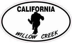 Oval Willow Creek California Bigfoot Sticker