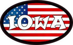 Oval American Flag Iowa Sticker