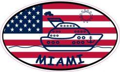 Flag Oval Cruise Ship Miami Sticker
