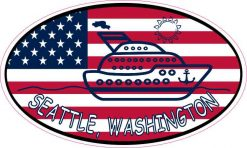Flag Oval Cruise Ship Seattle Sticker