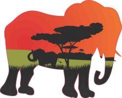 Serengeti Elephant Vinyl Sticker