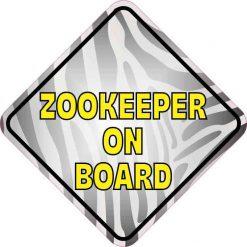 Zebra Print Zookeeper on Board Vinyl Sticker