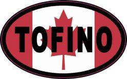 Oval Canadian Flag Tofino Vinyl Sticker