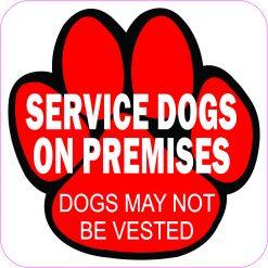 Service Dogs on Premises Vinyl Sticker