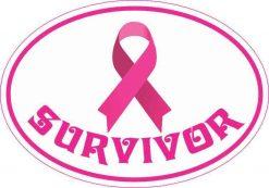 Oval Breast Cancer Survivor Vinyl Sticker