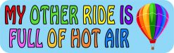 My Other Ride Is Full of Hot Air Vinyl Balloon Sticker