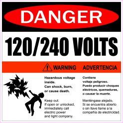 Hazardous Voltage 120/240 Volts Magnet