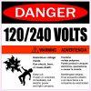 Hazardous Voltage 120/240 Volts Vinyl Sticker