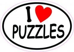 Oval I Love Puzzles Vinyl Sticker