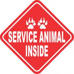 Red and White Service Animal Inside Magnet