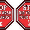 Symbol Stop Did You Wash Your Hands Vinyl Stickers