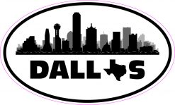 Skyline Oval Dallas Texas Vinyl Sticker