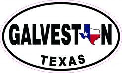 Oval Galveston Texas Vinyl Sticker
