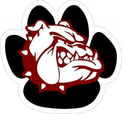 Pawprint Maroon Bulldog Mascot Vinyl Sticker