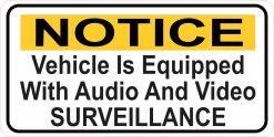 Vehicle Audio and Video Surveillance Vinyl Sticker