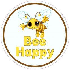 Circular Bee Happy Vinyl Sticker