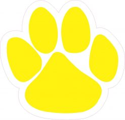 Yellow Paw Print Vinyl Sticker