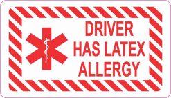 Red Driver Has Latex Allergy Vinyl Sticker