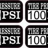 Tire Pressure 100 PSI Vinyl Stickers