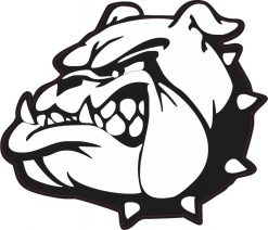 Left Facing Black and White Bulldog Mascot Vinyl Sticker