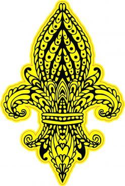 Yellow Ornate Fleur de Lis Vinyl Sticker