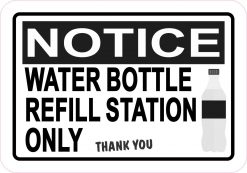 Water Bottle Refill Station Only Vinyl Sticker