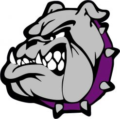 Left Facing Purple and Gray Bulldog Vinyl Sticker
