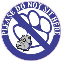 Blue and Gray Bulldog Do Not Sit Here Vinyl Sticker