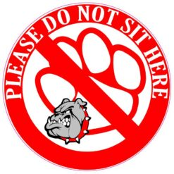 Red and Gray Bulldog Do Not Sit Here Vinyl Sticker