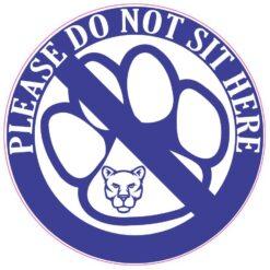 Blue Cougar Do Not Sit Here Vinyl Sticker