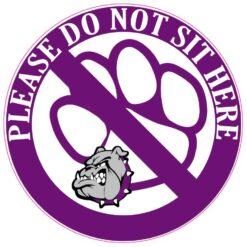 Purple and Gray Bulldog Do Not Sit Here Vinyl Sticker