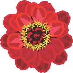Red Flower Vinyl Sticker