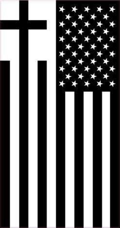 Black and White Cross American Flag Vinyl Sticker
