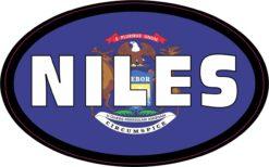 Flag Oval Niles MI Vinyl Sticker