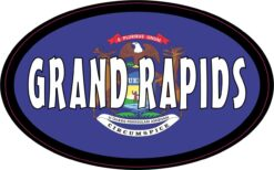 Flag Oval Grand Rapids MI Vinyl Sticker