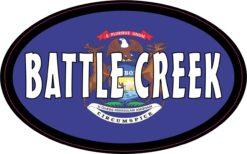 Flag Oval Battle Creek MI Vinyl Sticker